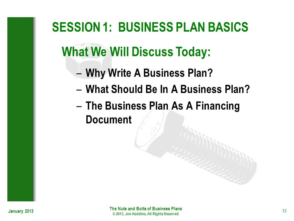 SESSION 1: BUSINESS PLAN BASICS