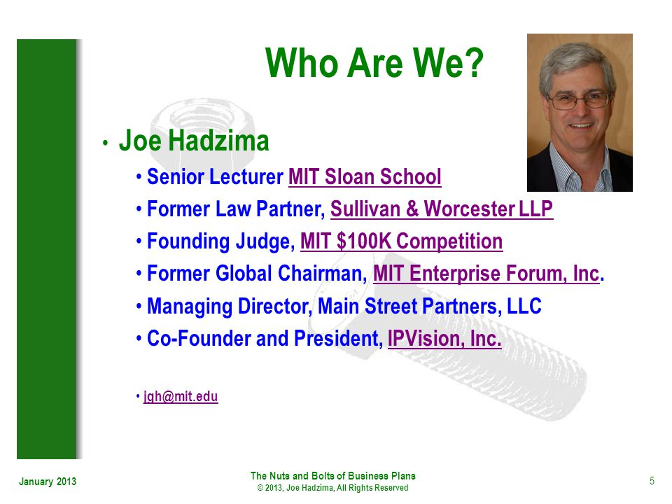 Who Are We Joe Hadzima Senior Lecturer MIT Sloan School