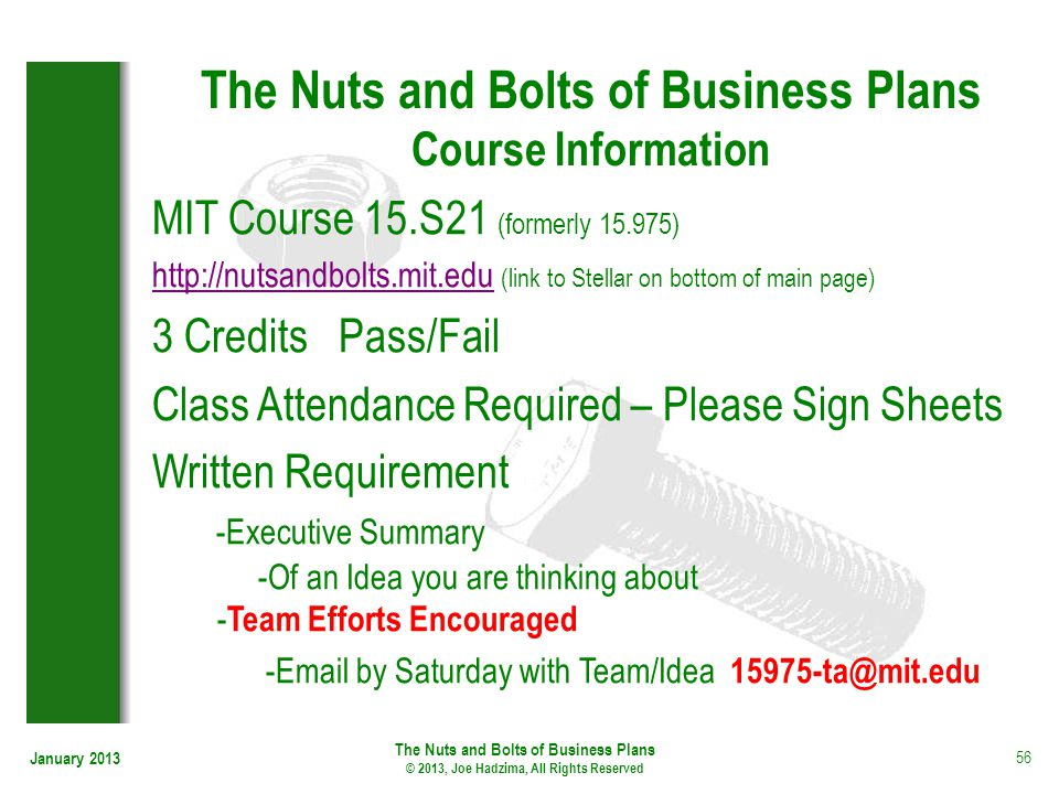 The Nuts and Bolts of Business Plans Course Information