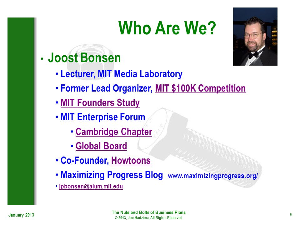 Who Are We Joost Bonsen Lecturer, MIT Media Laboratory