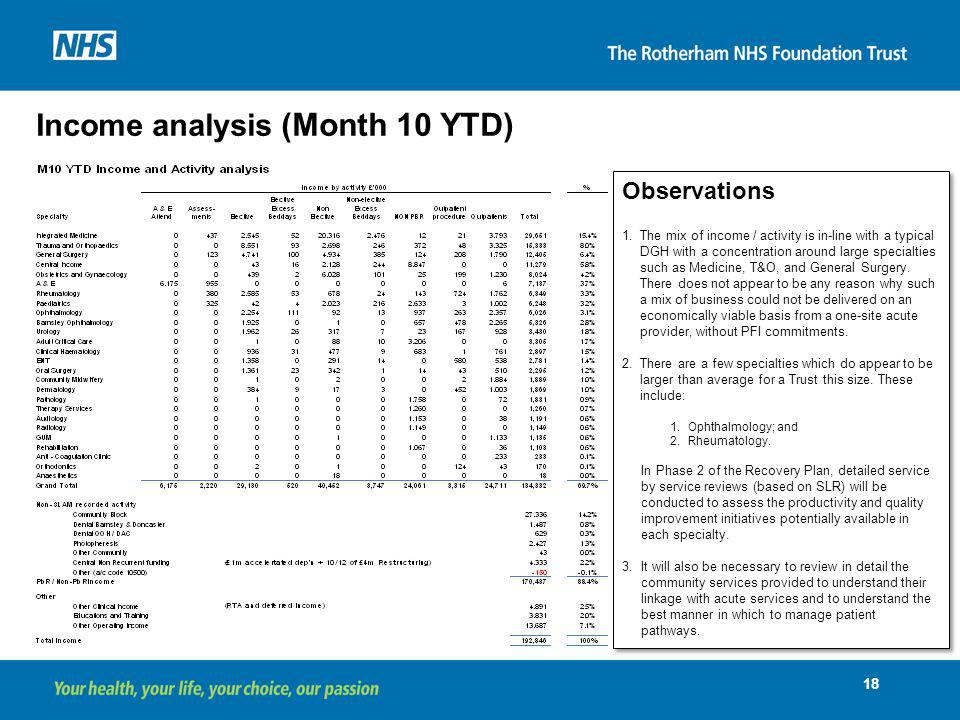 Income analysis (Month 10 YTD)