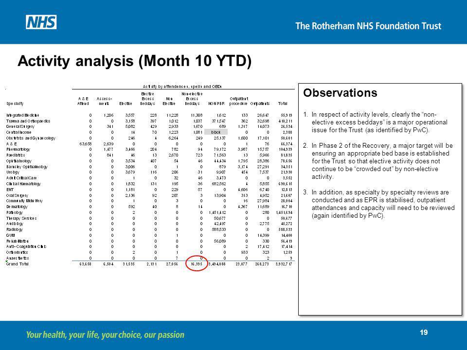 Activity analysis (Month 10 YTD)