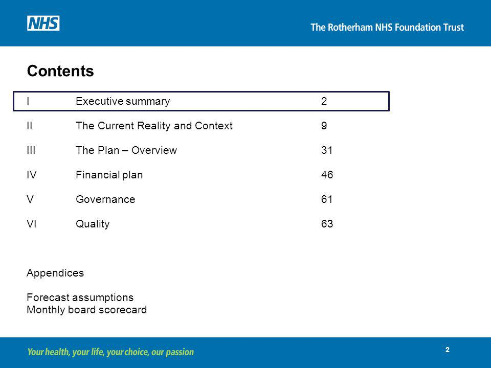 Contents I Executive summary 2 II The Current Reality and Context 9
