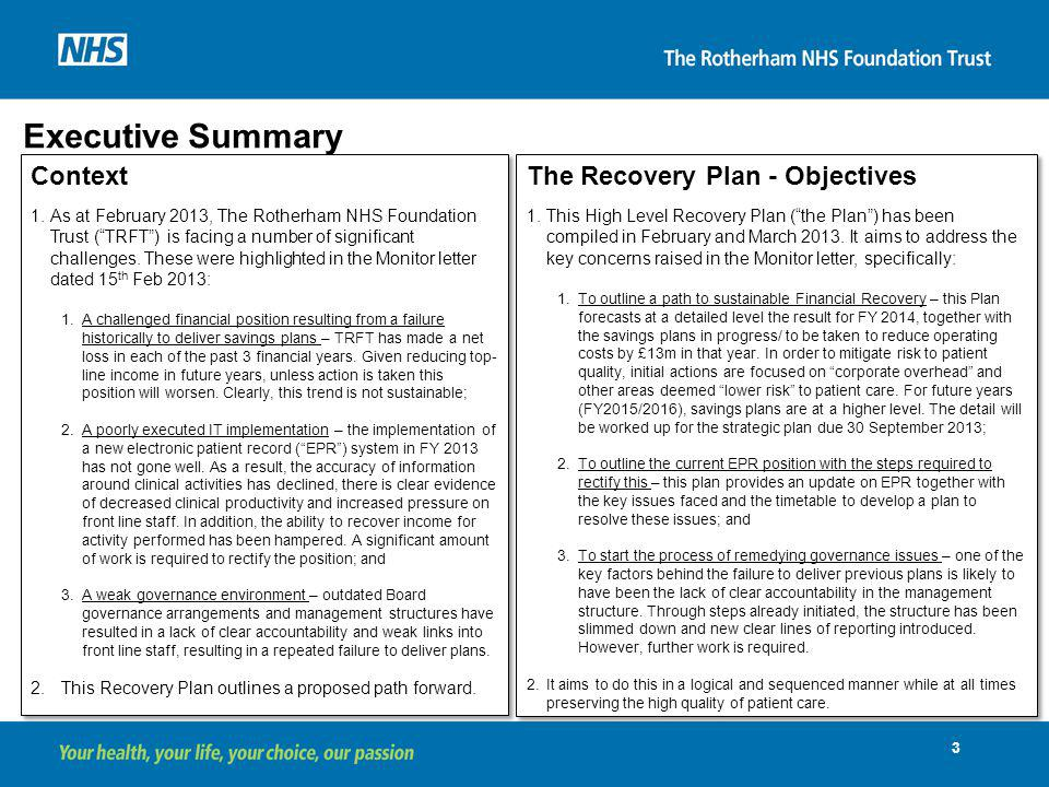 Executive Summary Context The Recovery Plan - Objectives