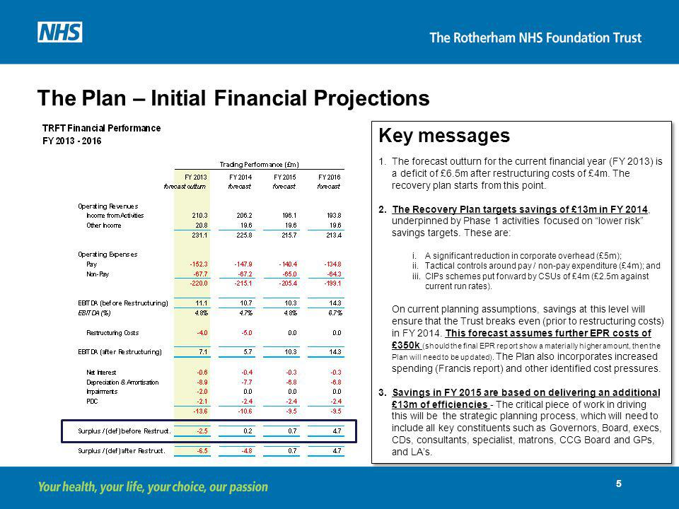 The Plan – Initial Financial Projections