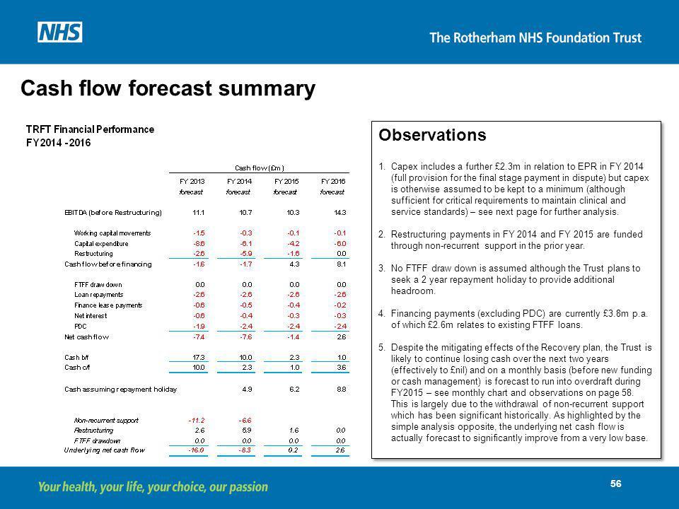 Cash flow forecast summary