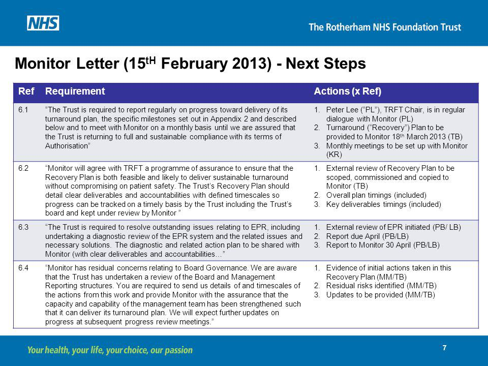 Monitor Letter (15tH February 2013) - Next Steps