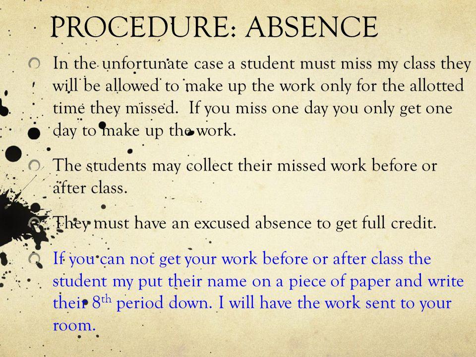 PROCEDURE: ABSENCE