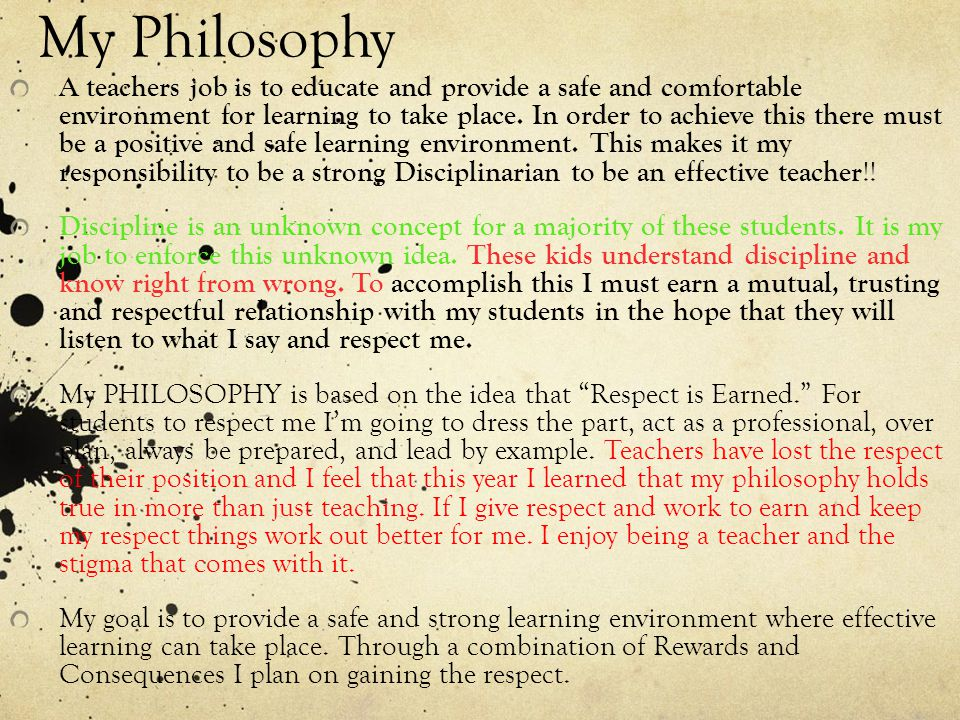 my classroom management philosophy essay My philosophy of student discipline is one that employs a structured, systematic approach designed to support learning classroom management, student.