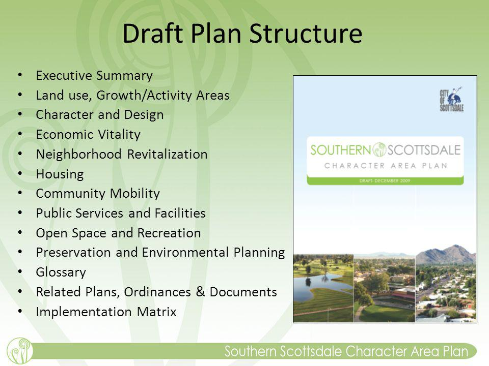 Draft Plan Structure Executive Summary Land use, Growth/Activity Areas