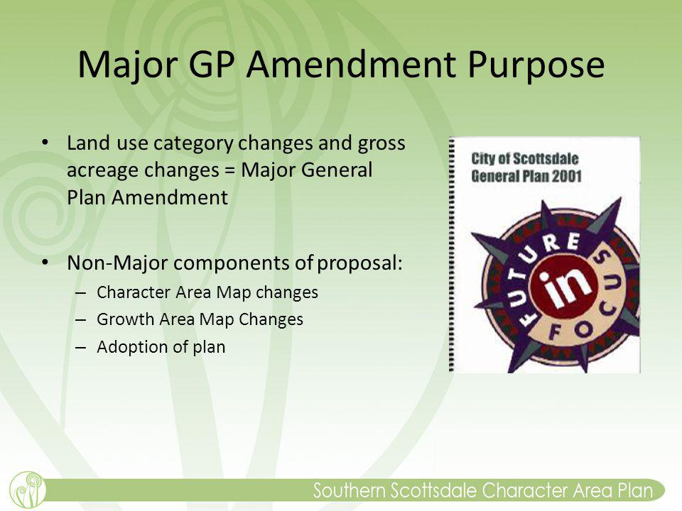 Major GP Amendment Purpose