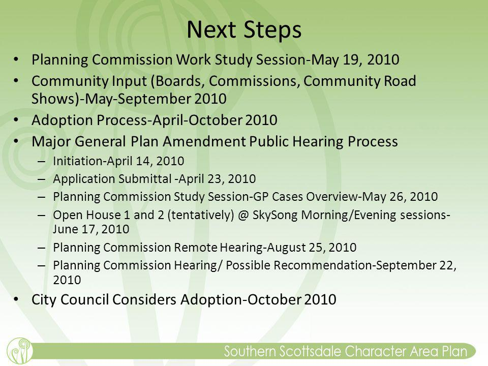 Next Steps Planning Commission Work Study Session-May 19, 2010