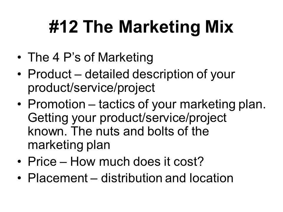 #12 The Marketing Mix The 4 P's of Marketing