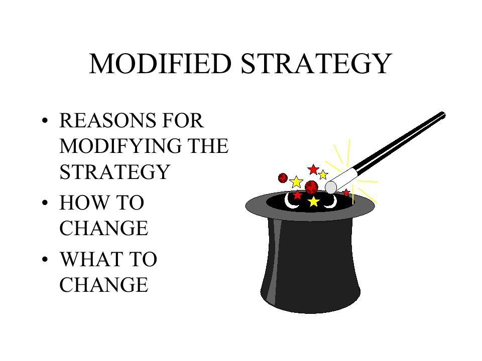 MODIFIED STRATEGY REASONS FOR MODIFYING THE STRATEGY HOW TO CHANGE