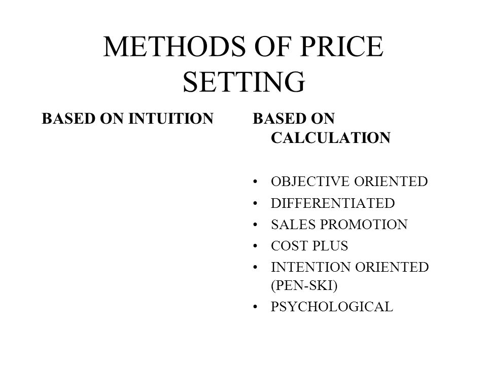METHODS OF PRICE SETTING