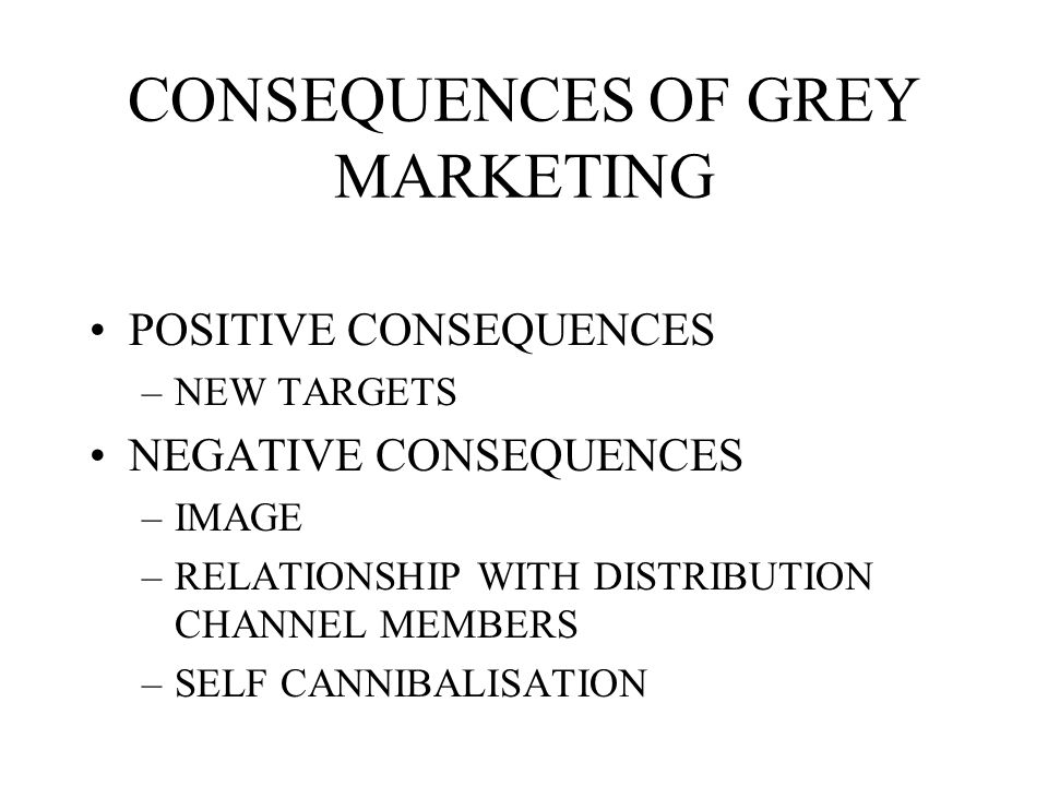 CONSEQUENCES OF GREY MARKETING