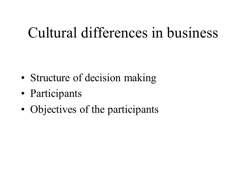 Cultural differences in business