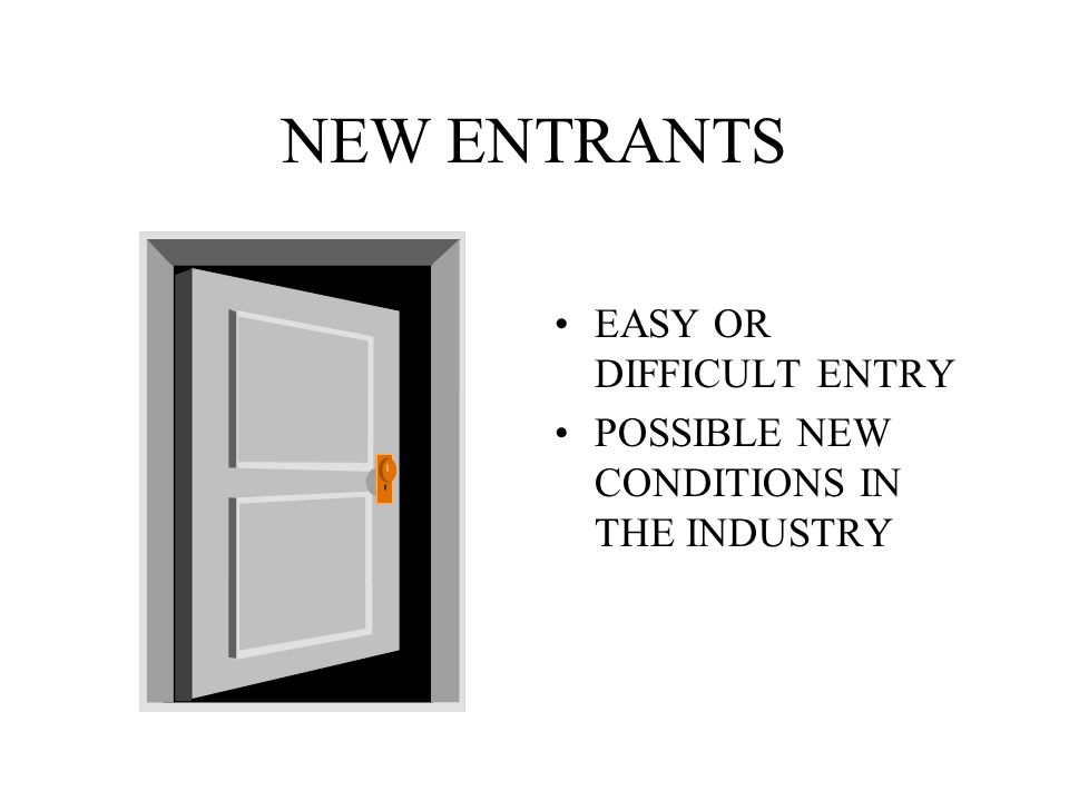 NEW ENTRANTS EASY OR DIFFICULT ENTRY