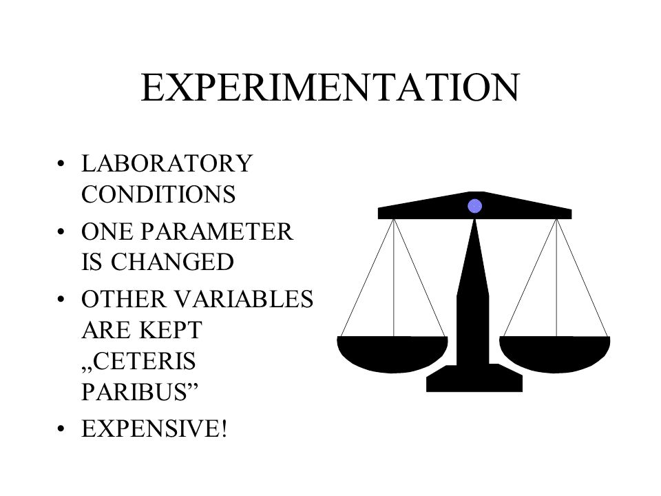 EXPERIMENTATION LABORATORY CONDITIONS ONE PARAMETER IS CHANGED