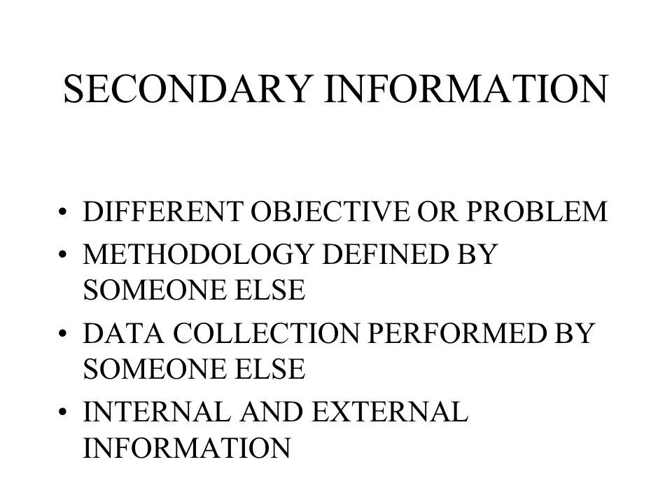 SECONDARY INFORMATION