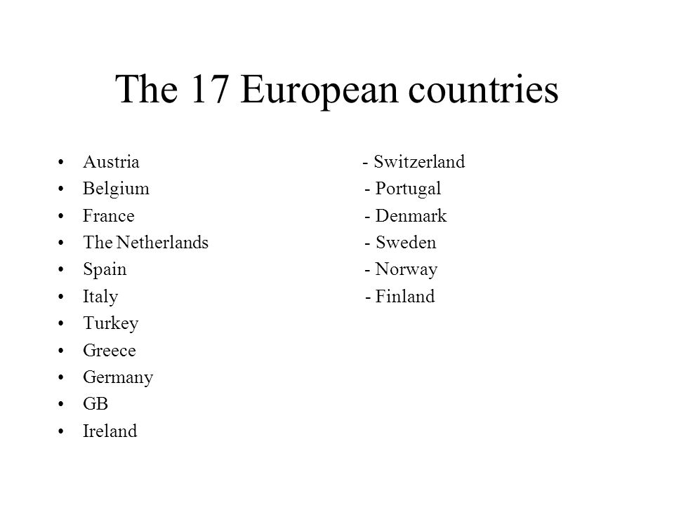 The 17 European countries