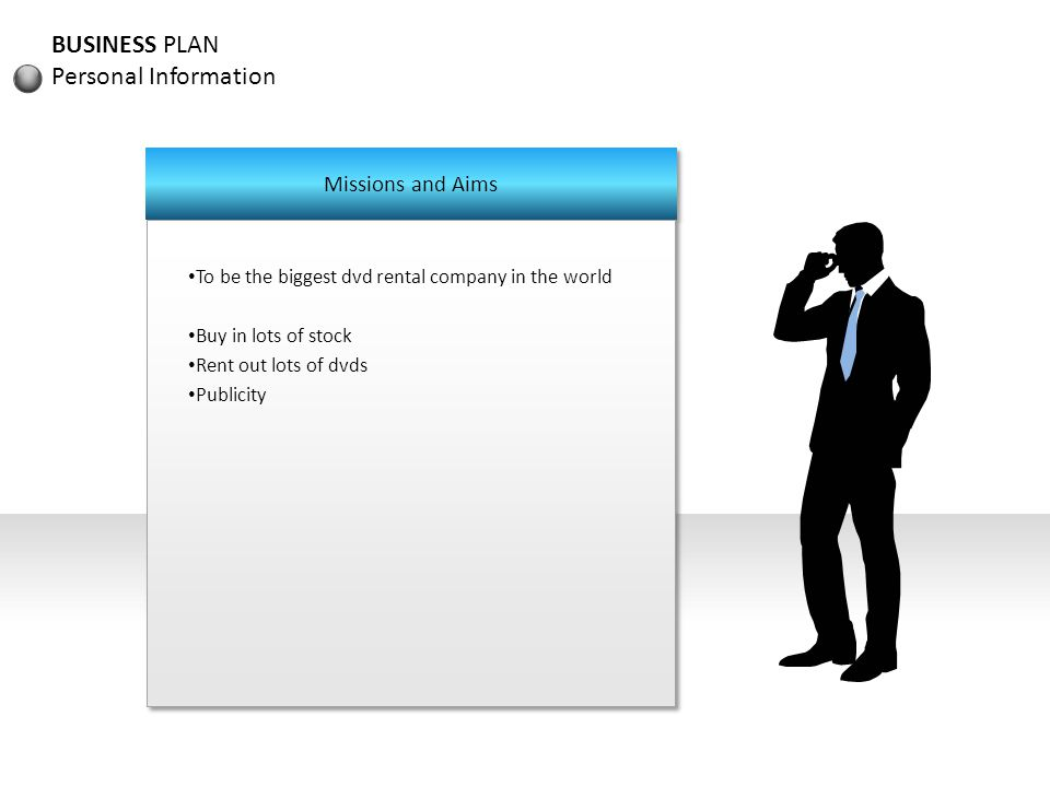 BUSINESS PLAN Personal Information Missions and Aims