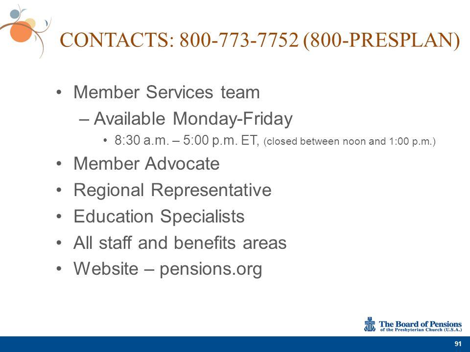 Contacts: 800-773-7752 (800-PRESPLAN)