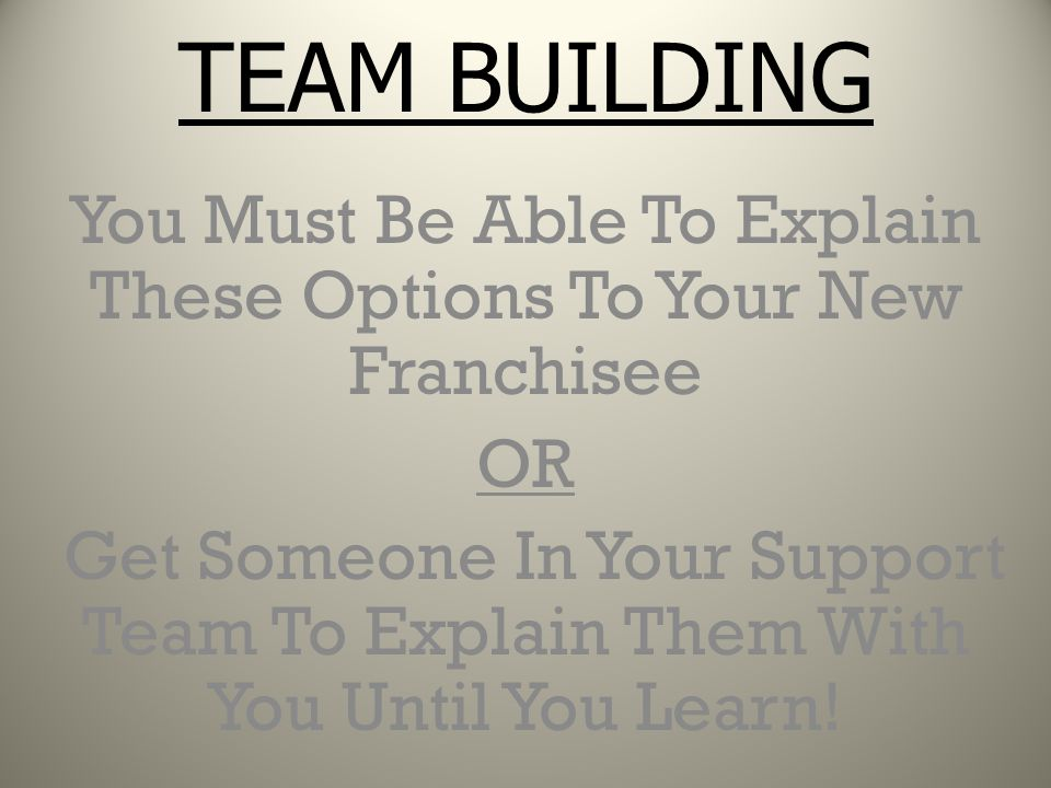 You Must Be Able To Explain These Options To Your New Franchisee