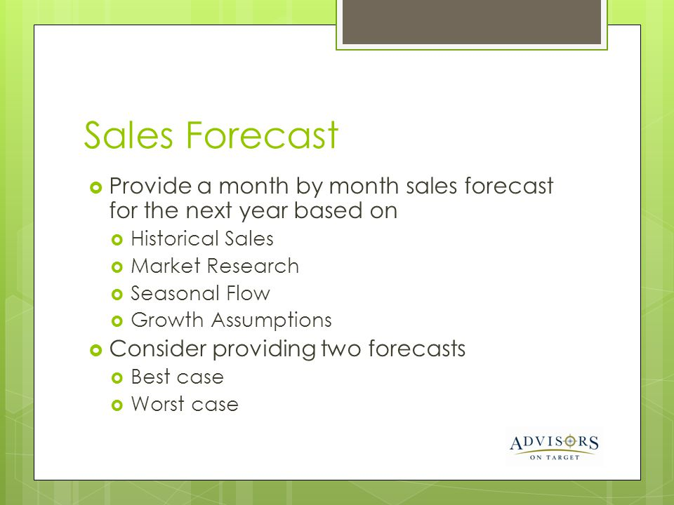 Sales Forecast Provide a month by month sales forecast for the next year based on. Historical Sales.