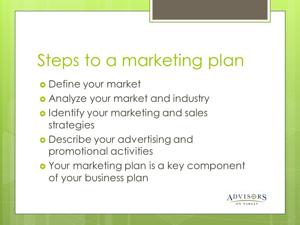 Steps to a marketing plan
