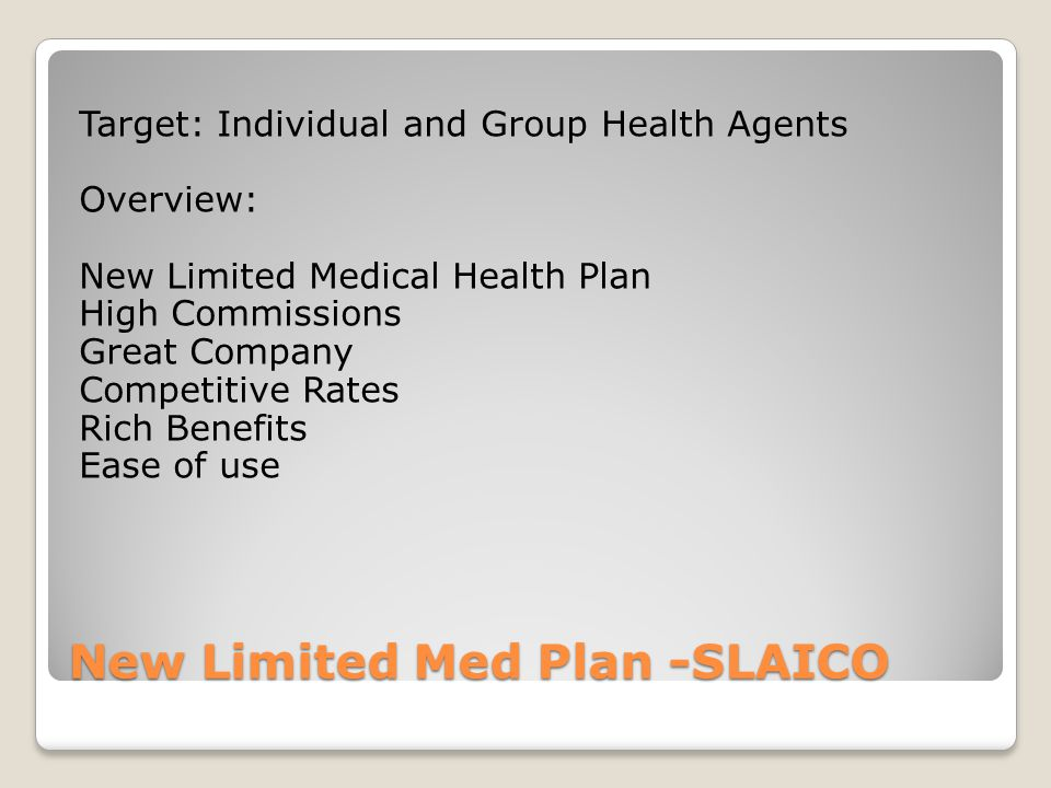 New Limited Med Plan -SLAICO