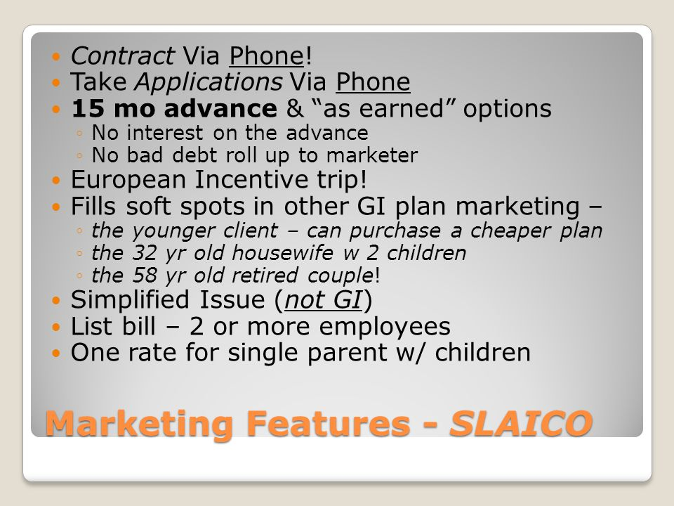 Marketing Features - SLAICO