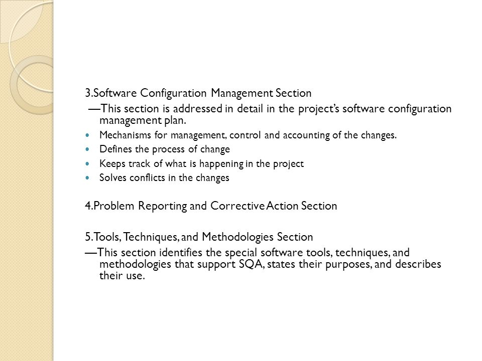 3.Software Configuration Management Section