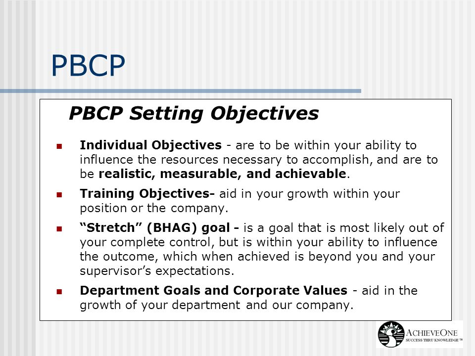 PBCP PBCP Setting Objectives