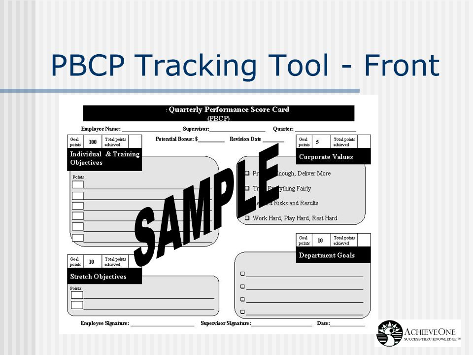 PBCP Tracking Tool - Front
