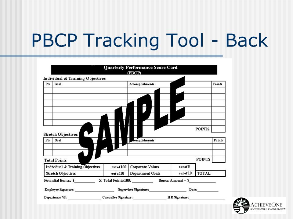 PBCP Tracking Tool - Back