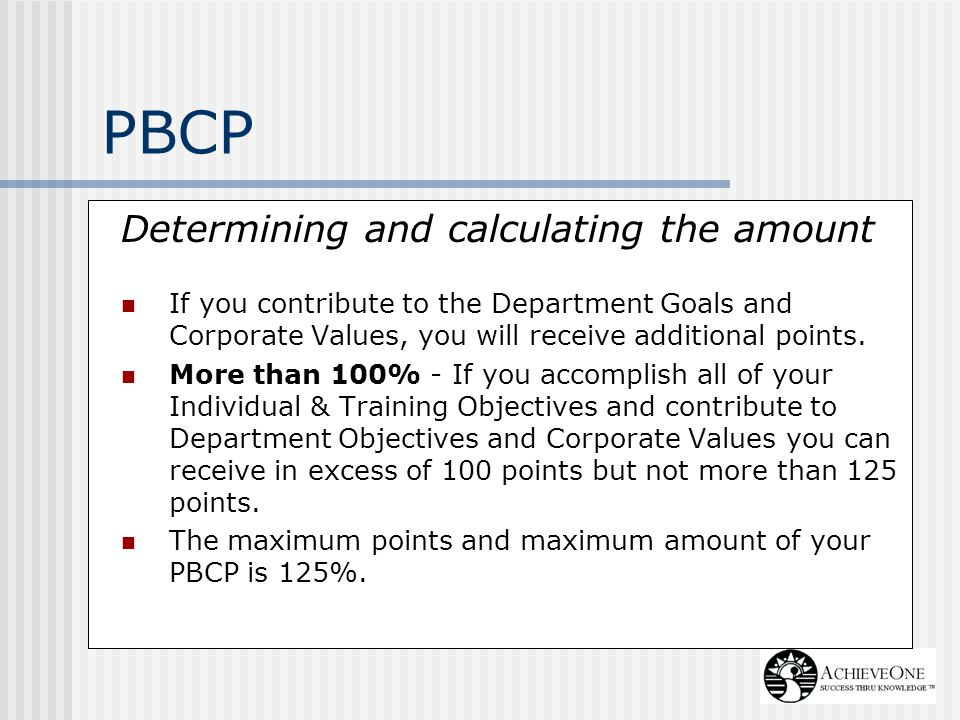 PBCP Determining and calculating the amount