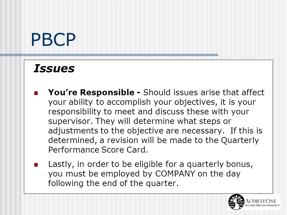 PBCP Issues