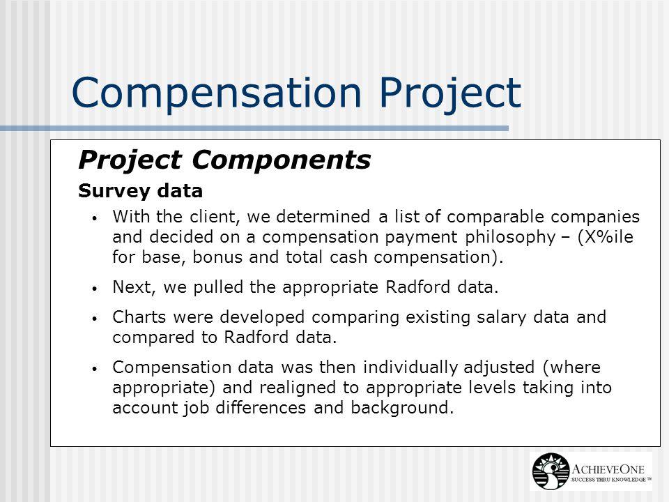 Compensation Project Project Components Survey data
