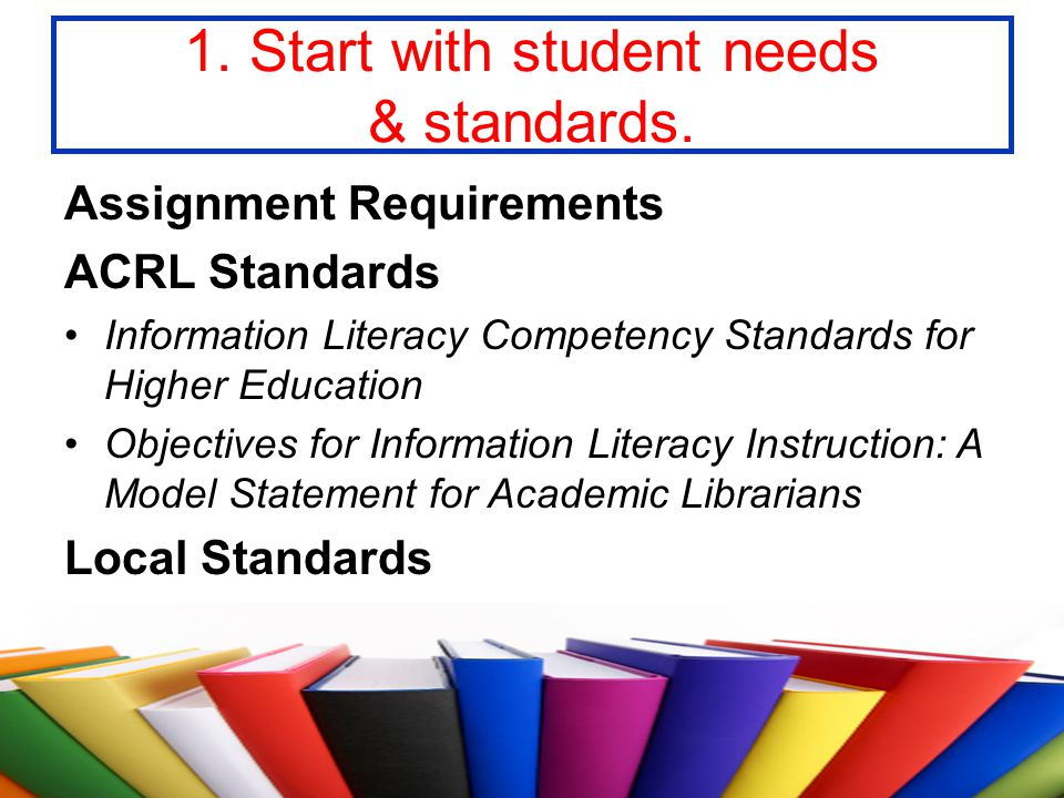 1. Start with student needs & standards.