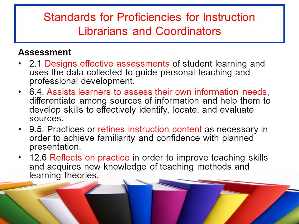 Standards for Proficiencies for Instruction Librarians and Coordinators