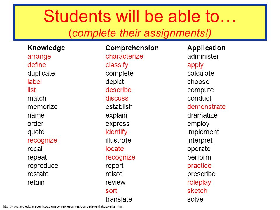 Students will be able to… (complete their assignments!)