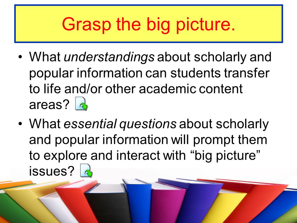 Grasp the big picture. What understandings about scholarly and popular information can students transfer to life and/or other academic content areas