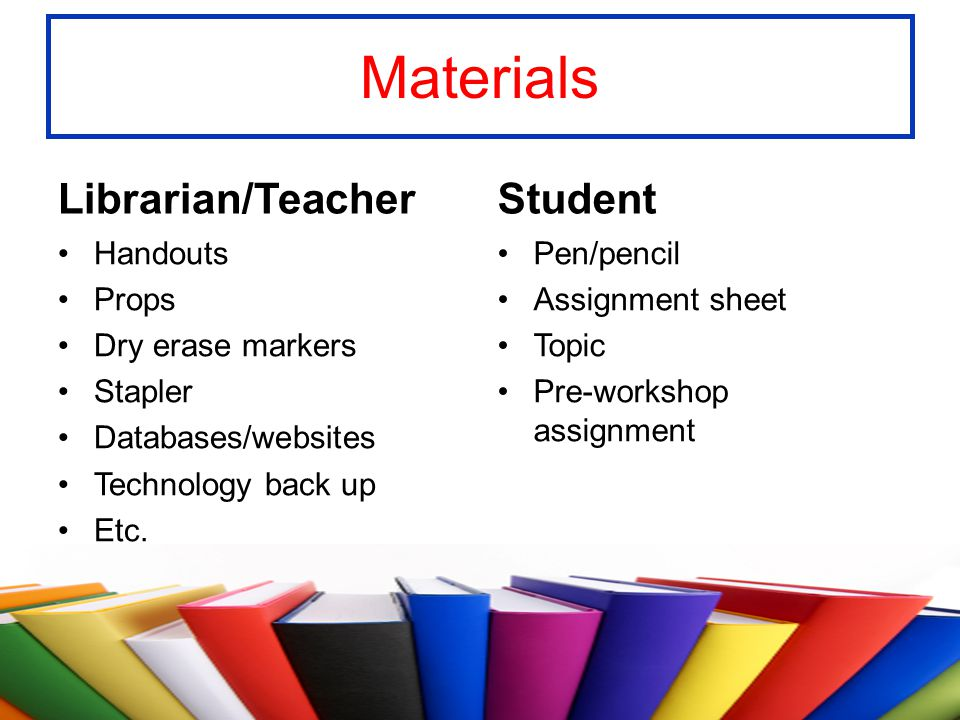 Materials Librarian/Teacher Student Handouts Props Dry erase markers