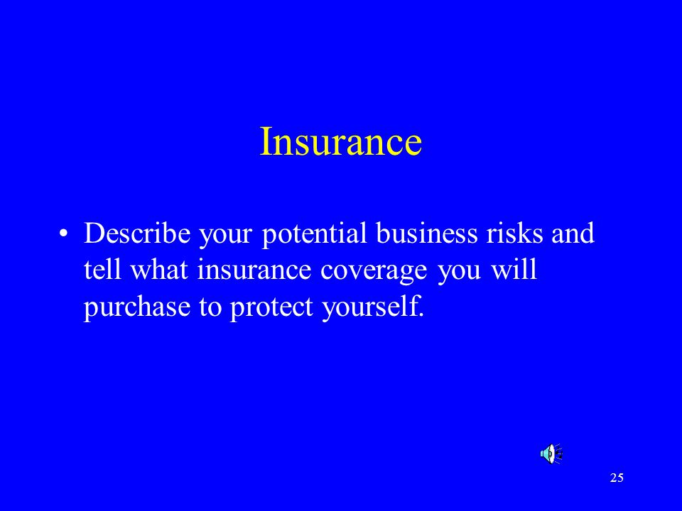 Insurance Describe your potential business risks and tell what insurance coverage you will purchase to protect yourself.