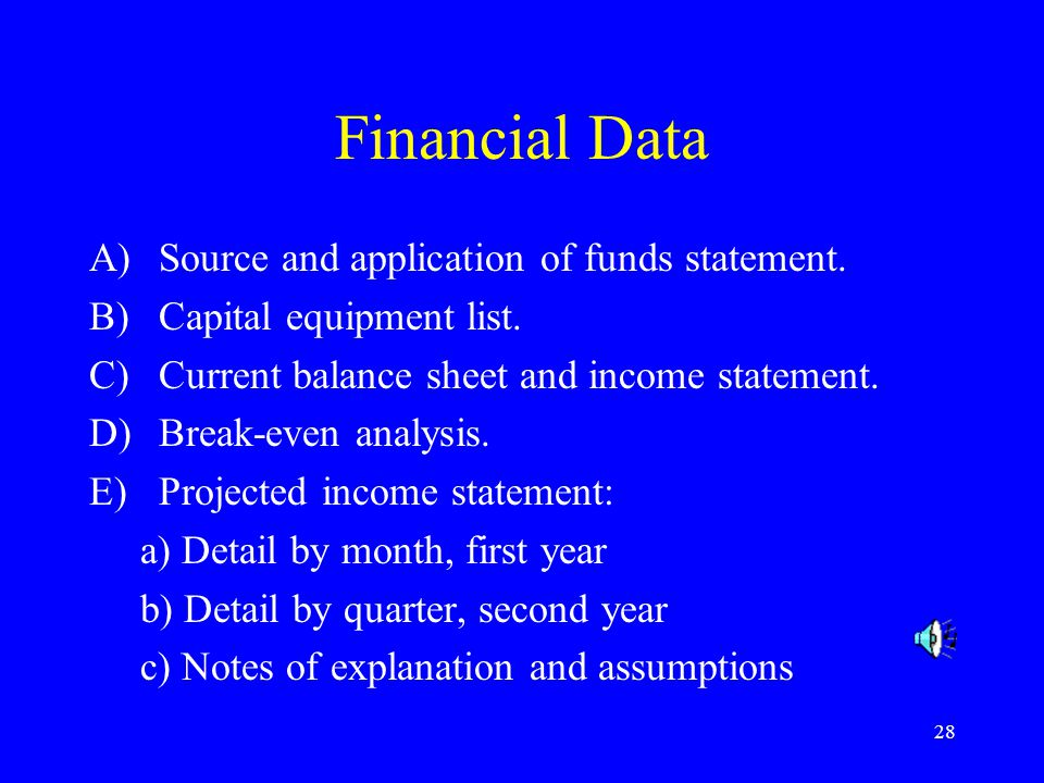 Financial Data Source and application of funds statement.