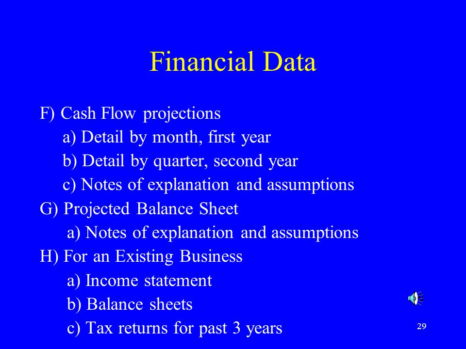 Financial Data F) Cash Flow projections a) Detail by month, first year