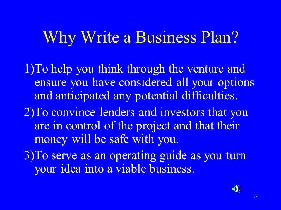 why do you write a business plan