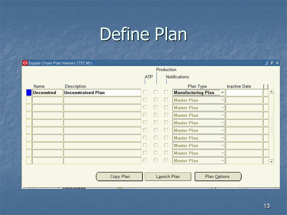 Define Plan Plan types > Mfg plan, production plan, master plan