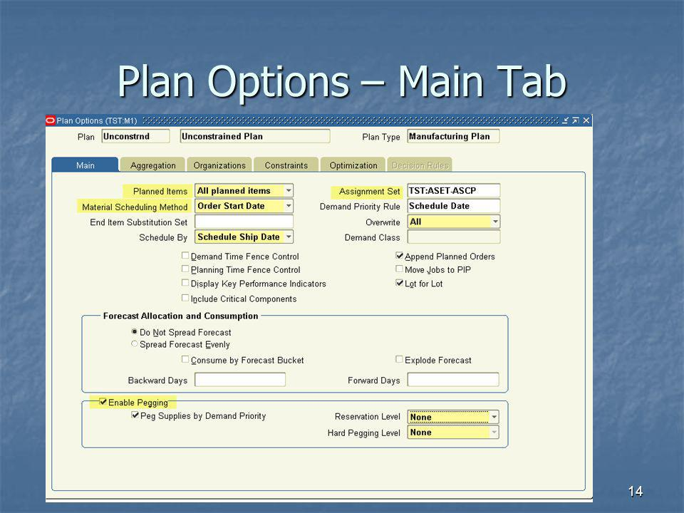 Plan Options – Main Tab